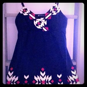 INC Black Dress with Red and White Embroidery